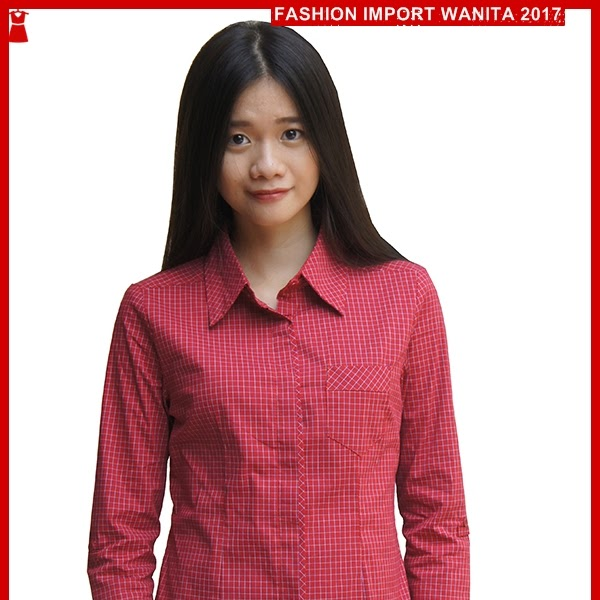 ADR017 Kemeja Wanita Merah Kotak Kotak Import BMG