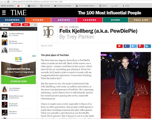 Times Magazine PEWDIEPIE