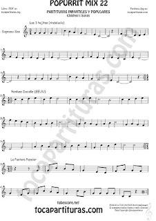Partitura de Saxofón Soprano  Yankee Doodley, Las 3 hojitas, La Pastora Popurrí Mix 22 Sheet Music for Soprano Sax Music Score