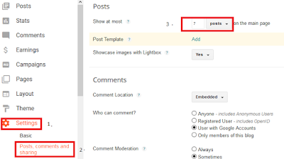 How to change number of posts displayed on your blogger Homepage?