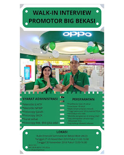 Info Lowongan Kerja SPG SPB OPPO Bekasi 2018