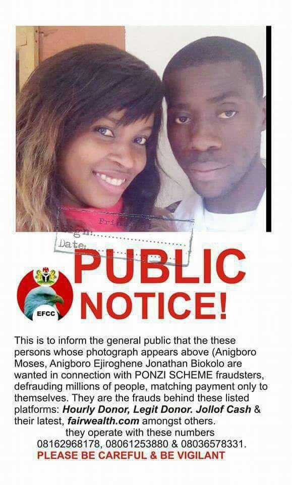 MMM: EFCC declares couple wanted over crashed ponzi scheme