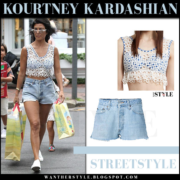 Kourtney Kardashian in white lace crop top anna sui and denim shorts redone streetstyle 2017 celebrity fashion outfit summer