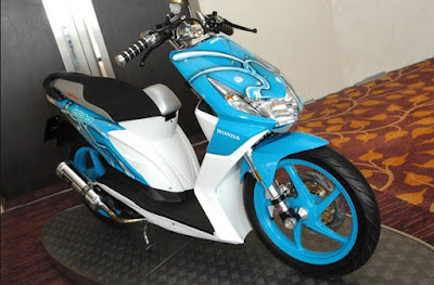 Modifikasi Honda Beat Full Airbrush Biru