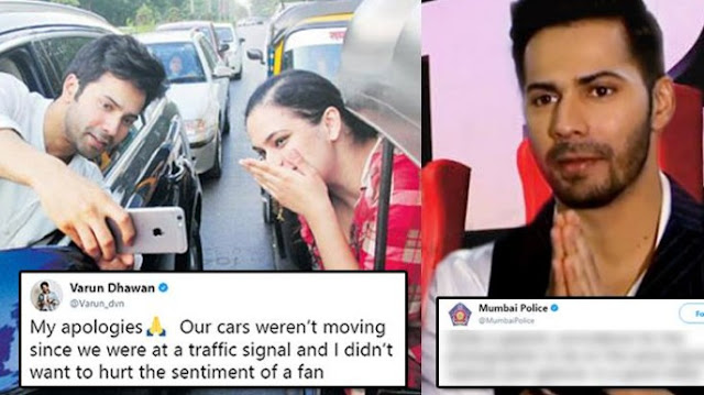 Varun Dhawan apologies Mumbai Police once they warns him for Not to do 'adventures on roads'