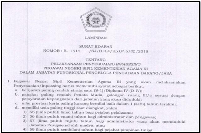 Download Persyaratan Inpasing Guru PNS Kementerian Agama RI Dalam Jabatan Fungsional 2018