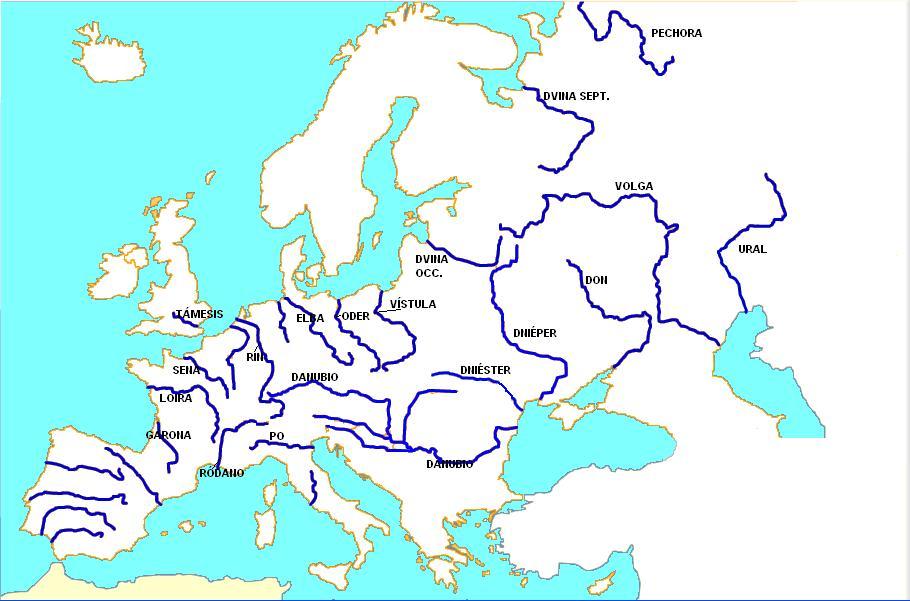 Mapa Europa Fisico Rios.Historiatocha1 Unidad 3 Conocemos Los Rios Los Lagos Y