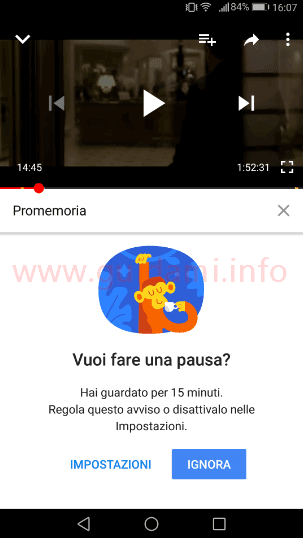 App YouTube promemoria Ricordami di fare una pausa