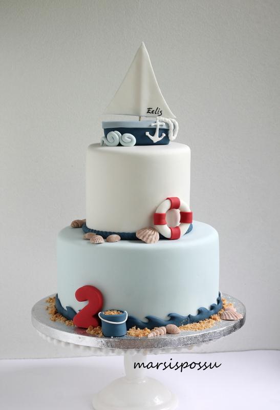 Meriaiheinen kakku 2-vuotissynttäreille