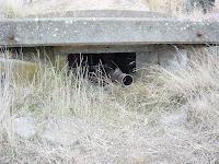 Bir korugan penceresinden makineli tüfek çıkarmış olan askerler