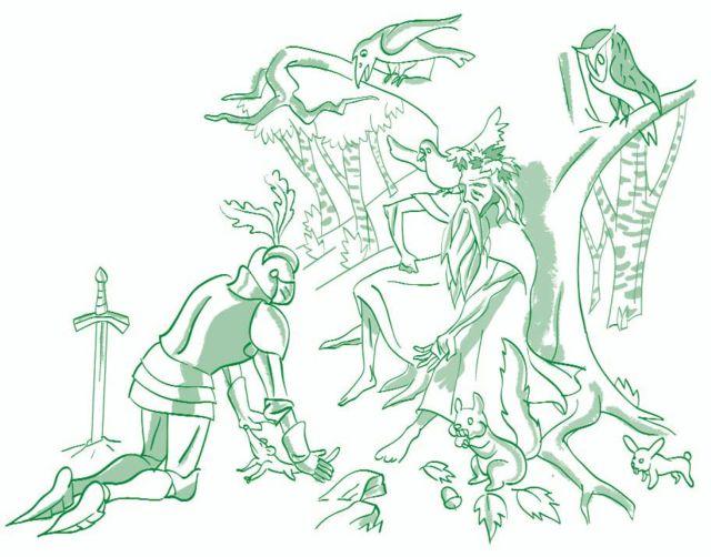 El caballero de la armadura oxidada-En los bosques de Merlín-ilustración: Mario Diniz-© FAD 2009