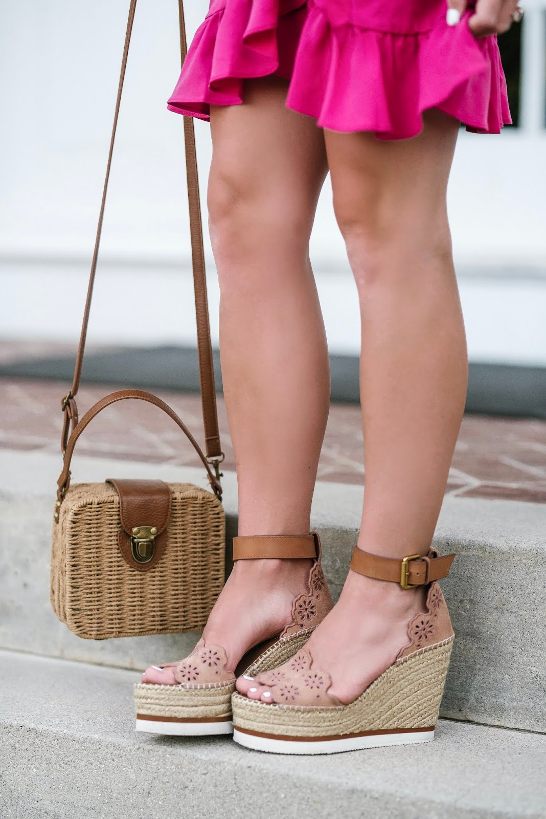 See by Chloe Wedges + Wicker Basket Bag - Something Delightful Blog