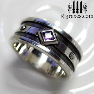 mens moorish gothic 1 stone wedding band with amethyst stone