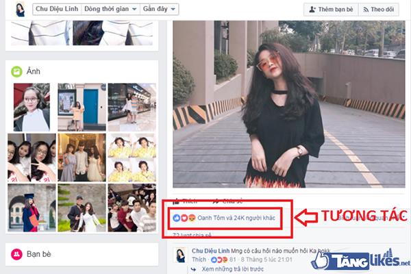 like tuong tac tren facebook ca nhan