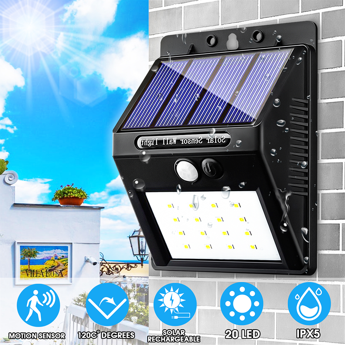 20 LED 400Lumen Outdoor Solar Wall Lamp Wireless Motion Sensor ...