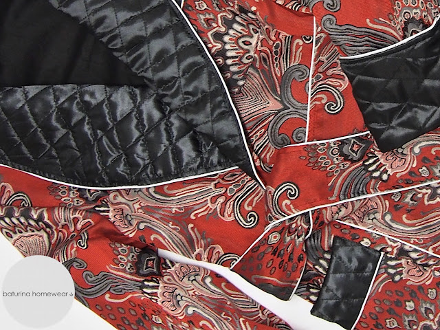 Mens red paisley jacquard dressing gown quilted silk robe floral cotton