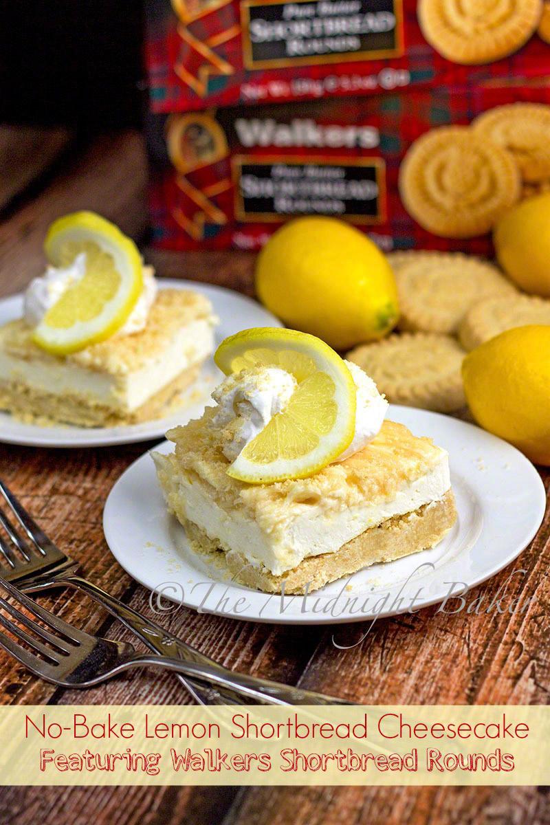 No-Bake Lemon Shortbread Cheesecake - The Midnight Baker