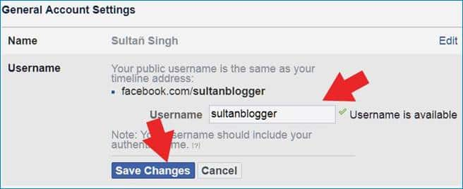 facebook profile custom url