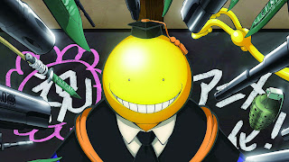 Tapeta Full HD z Assassination Classroom z Koro-sensei przed tablicą i bronią
