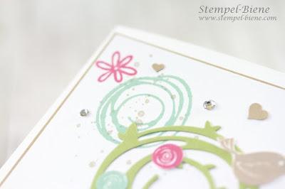 Stampin' Up Swirly Bird; Geburtstagskarte für Lieblingsmenschen; Blumenkarte Stampin' Up; Stampin Up Stempelparty; Stempel-biene