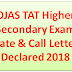 OJAS TAT Higher Secondary Exam Date & Call Letter Declared 2018