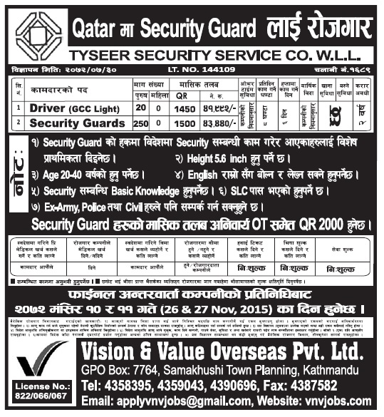 Jobs in Qatar for Nepali, Salary Rs 43,440