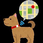 GPS付きの首輪をつけた犬のイラスト