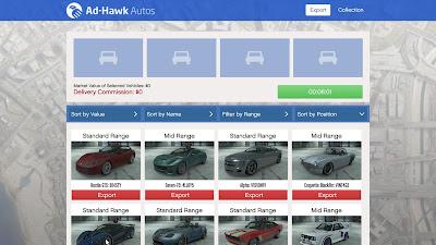 GTA Online - Lista de carros de vendas de exportação