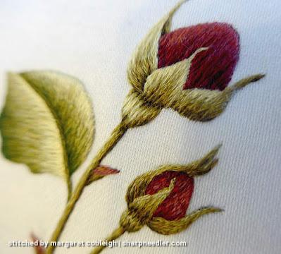 Burgundy Rosebuds (by Trish Burr): Detail of thread painted rosebuds