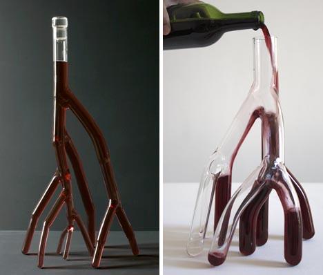 vasos de vino inusual y creativo.