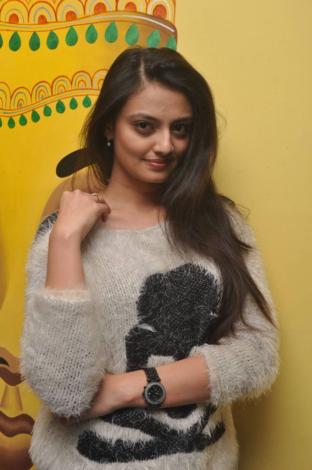 Tollywood Actress Nikitha Narayan In White Top Black Jeans At Movie Premier Show