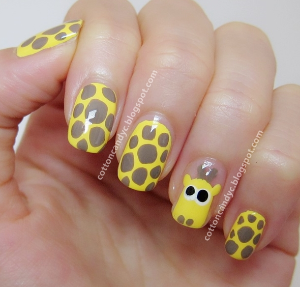 Adorable Nail Art: Cotton Candy Blog: Cute Giraffe Nail Art Tutorial {How To}