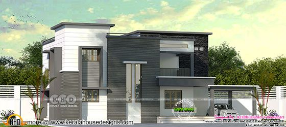 2570 square foot flat roof house plan