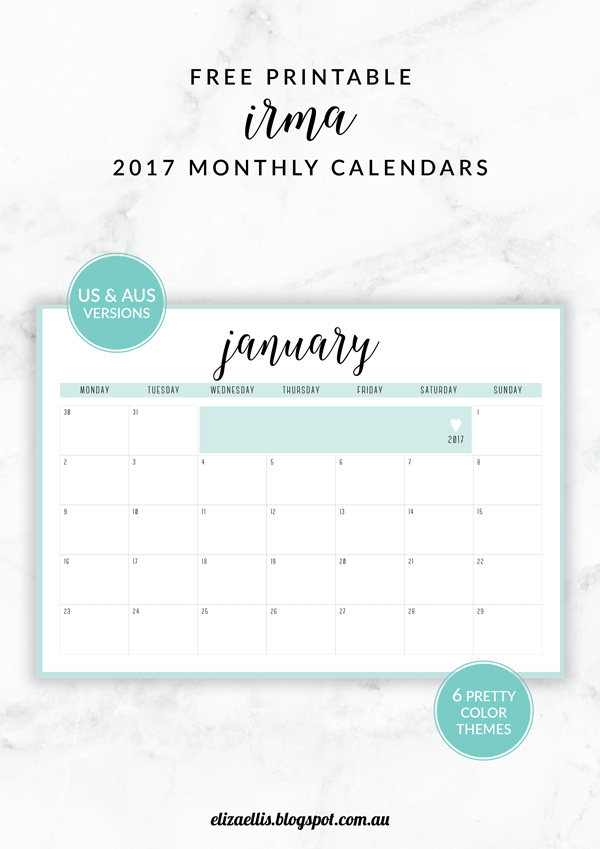 Free Printable Irma 2017 Monthly Calendars & Planners - Eliza Ellis