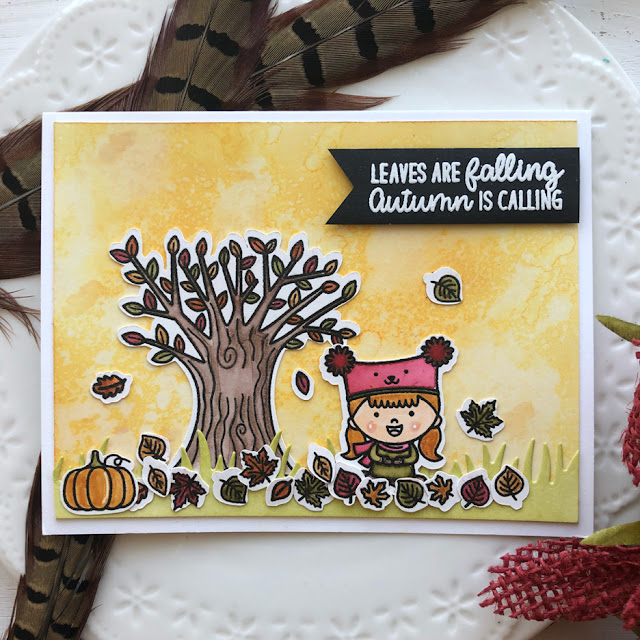Sunny Studio Stamps: Fall Kiddos Happy Harvest Customer Card by Ashley Hughes