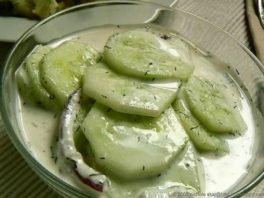 creamy cucumber sliced in dill sauce