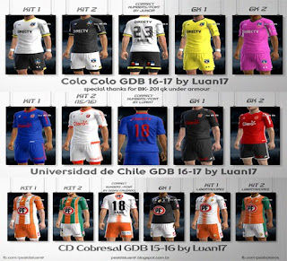 Kits:Cobresal, Colo Colo, Universidad de Chile 2016-2017, Pes 2013