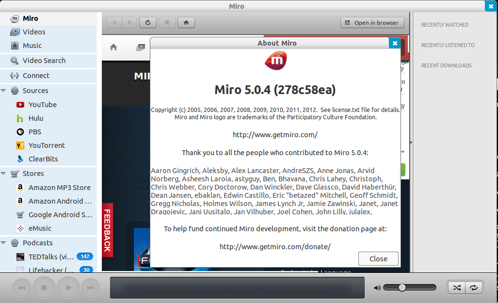 Install Miro 5 0 4 From PPA In Ubuntu 12 04/Linux Mint 13