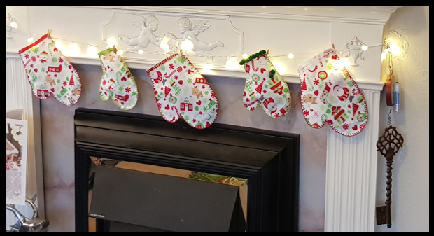 Making mittens to hang rather than stockings over the fireplace