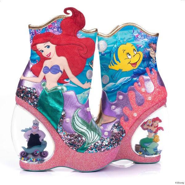 disney the little mermaid character water globe heeled boots