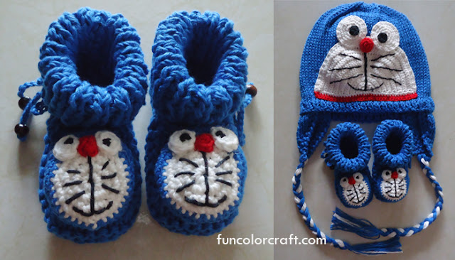 Baby Booties Knitted pattern - Doraemon