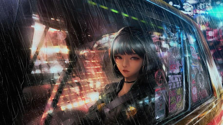 Anime, Girl, Car, Raining, 4K, #265