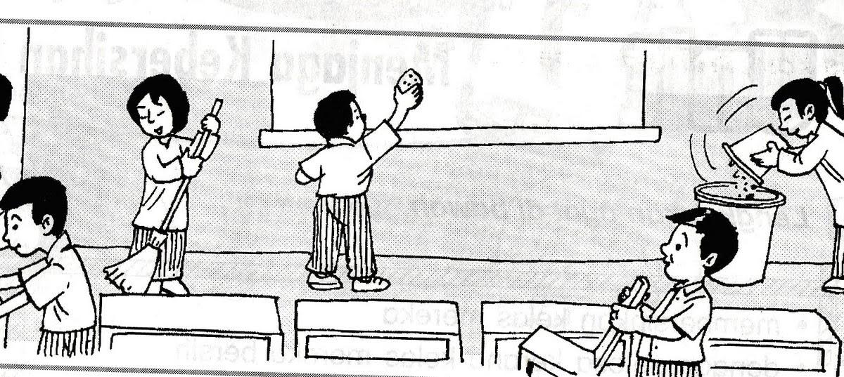 Gambar Gotong Royong Kartun Hitam Putih Ideku Unik