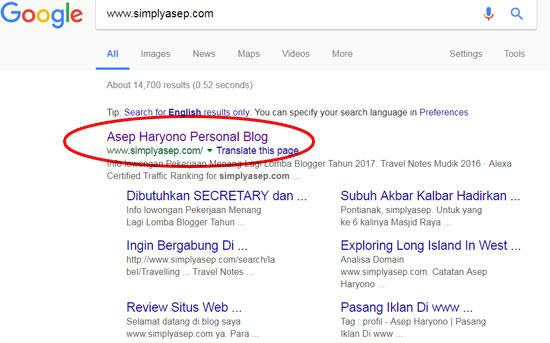 alaman google yang mengindex alamat blog simplyasep.com beberapa waktu yang lalu.  Foto Internet