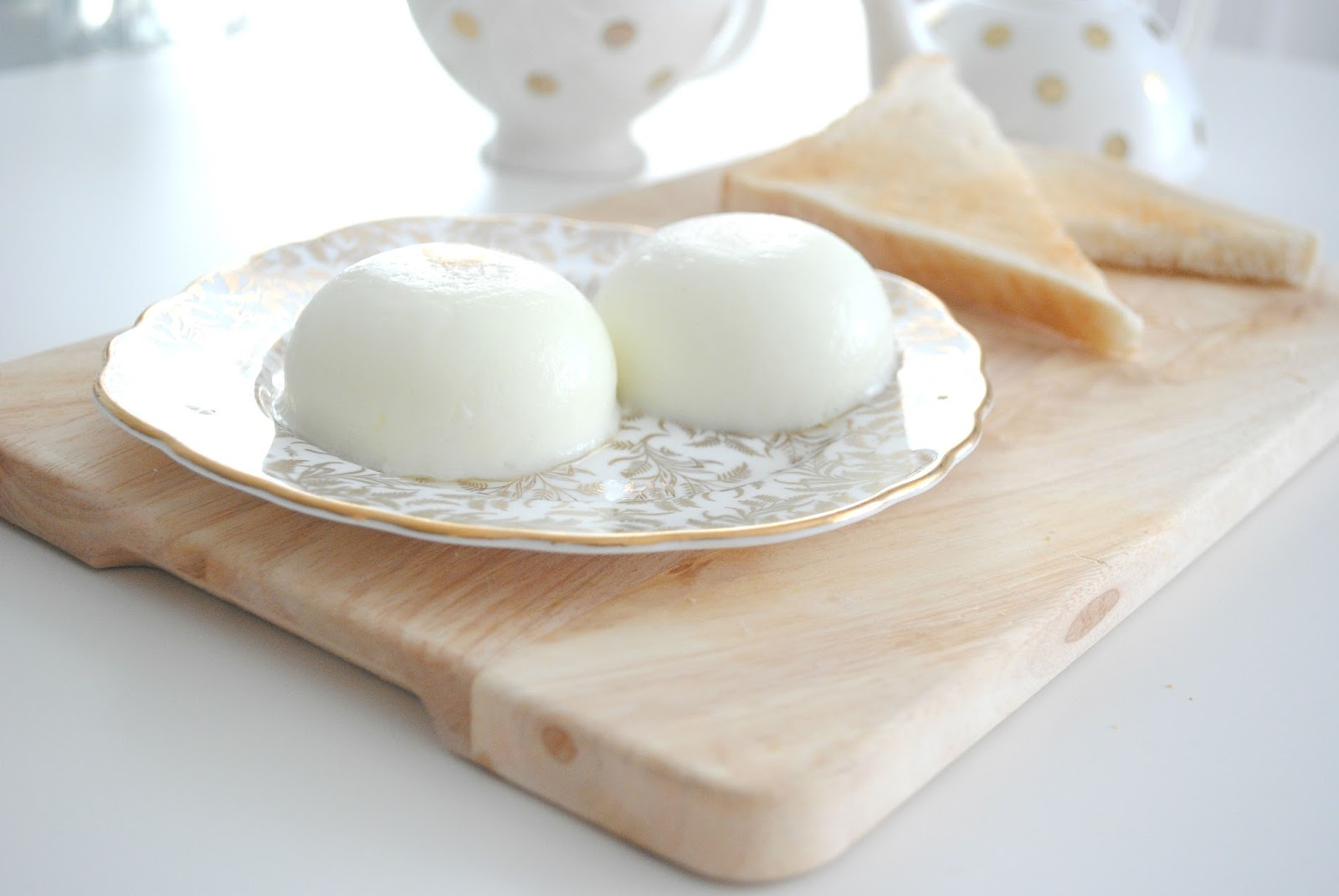 poached eggs egg wooden board gold plate homeware tea teapot