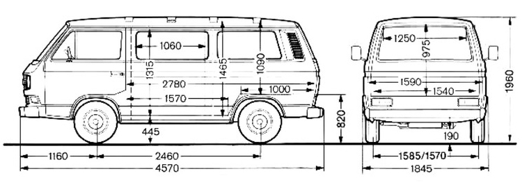 VW Transporter T3: Dimentions