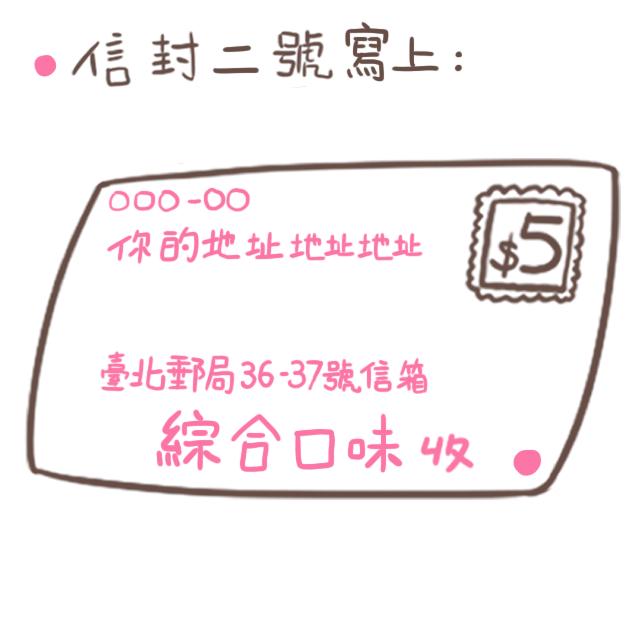 另一個「信封二號」則在收件人寫上「綜合口味」,收件地址寫上「臺北郵局36-37號信箱」,寄送地址寫你自己的地址。