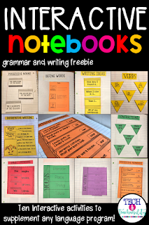 This FREE activity packet includes 10 interactive notebook pages for practice with nouns, verbs, possessive nouns, informative writing, and more! These are generic activities that can be used to help add to any Literacy Block.