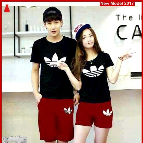 MSF0135 Model Couple Setelan Murah Adidas Black BMG