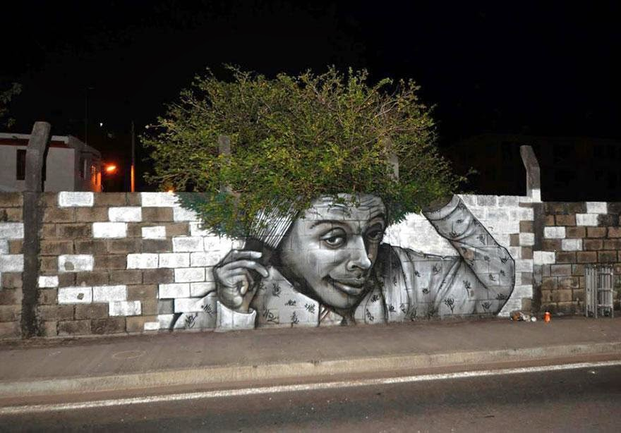 28 Pieces Of Street Art That Cleverly Interact With Their Surroundings - Hair, Fort De France, Martinique